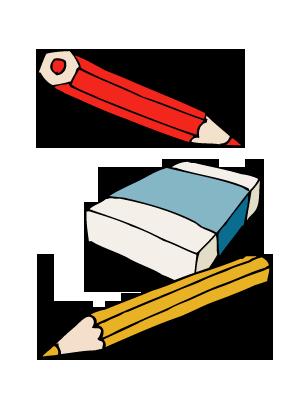 Potloden en gum